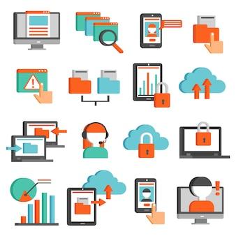Conjunto de iconos planos de tecnologías de información
