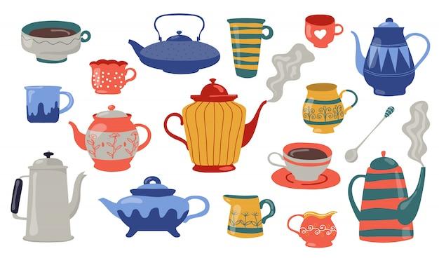 Conjunto de iconos planos de teteras y tazas