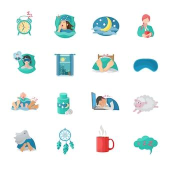 Conjunto de iconos planos de tiempo de sueño