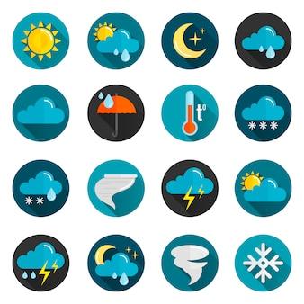 Conjunto de iconos planos del tiempo