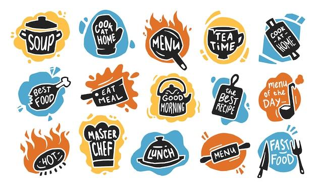 Conjunto de iconos planos de tipografía de alimentos