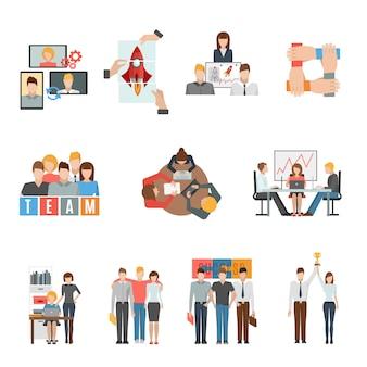 Conjunto de iconos planos de trabajo en equipo