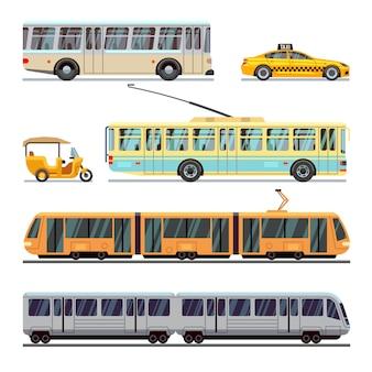 Conjunto de iconos planos de transporte municipal de la ciudad