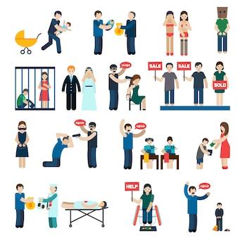 Conjunto de iconos planos de la trata de personas