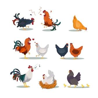 Conjunto de iconos planos de varias gallinas y gallos