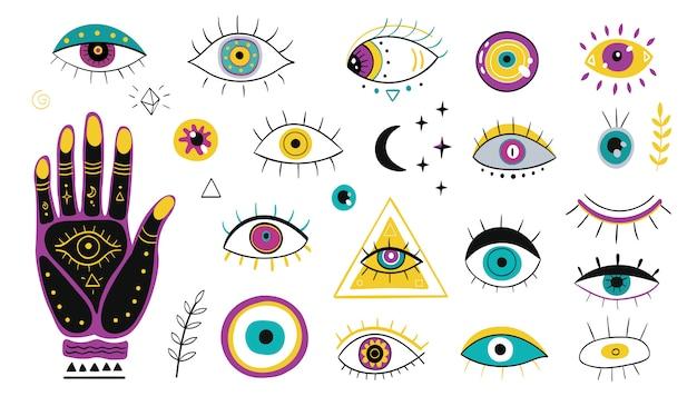 Conjunto de iconos planos de varios ojos dibujados a mano