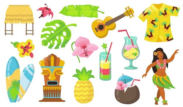 Conjunto de iconos planos de varios símbolos de hawaii