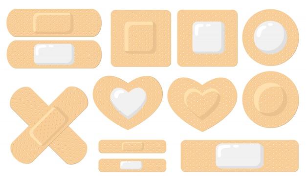 Conjunto de iconos planos de varios yesos médicos adhesivos
