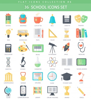 Conjunto de iconos planos de vector escuela color. diseño de estilo elegante.