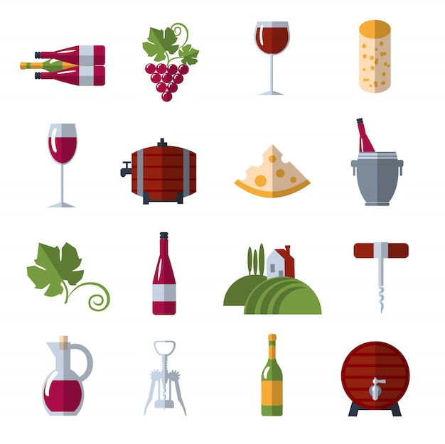 Conjunto de iconos planos de vino
