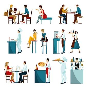 Conjunto de iconos planos de visitantes del restaurante