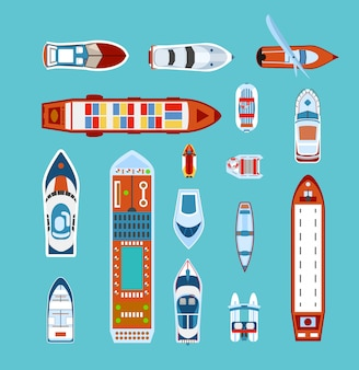 Conjunto de iconos planos vista superior de naves
