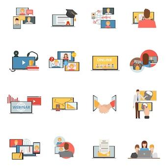 Conjunto de iconos planos de webinar de colaboración web