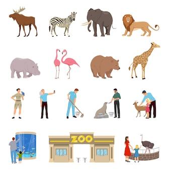 Conjunto de iconos planos de zoológico