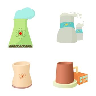 Conjunto de iconos de planta de energía