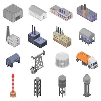 Conjunto de iconos de planta de refinería, estilo isométrico