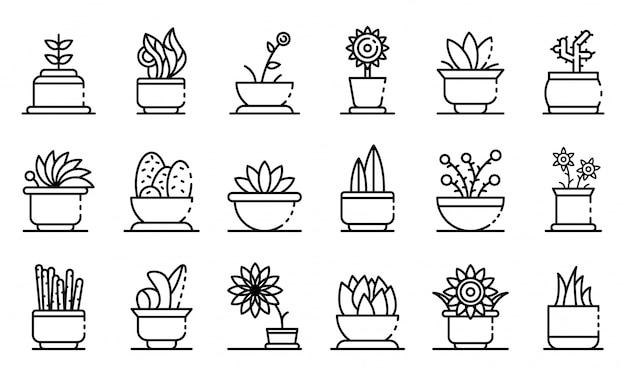 Conjunto de iconos de plantas de interior, estilo de contorno