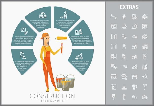 Conjunto de iconos y plantilla de infografía construcción