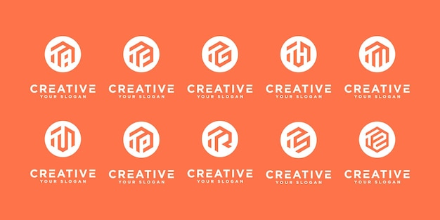 Conjunto de iconos de plantilla de logotipo t inicial monograma creativo para negocios de moda o etc.