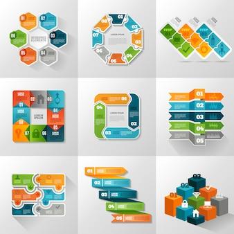 Conjunto de iconos de plantillas de infografía
