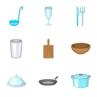 Conjunto de iconos de platos, estilo de dibujos animados