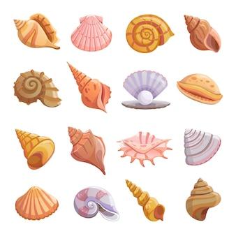 Conjunto de iconos de playa de concha de mar