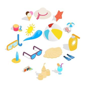 Conjunto de iconos de playa, estilo isométrico 3d