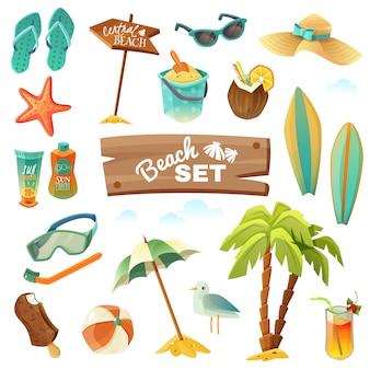 Conjunto de iconos de playa