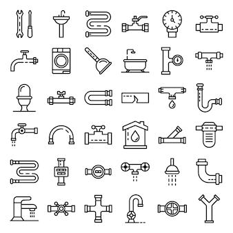 Conjunto de iconos de plomería, estilo de contorno