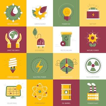 Conjunto de iconos de poder y energía