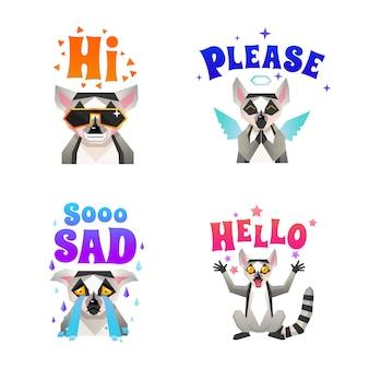 Conjunto de iconos poligonales de las emociones de lemur