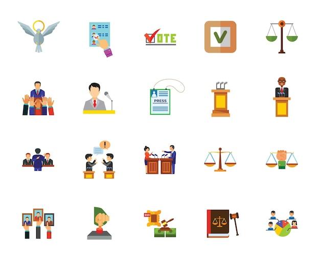 Conjunto de iconos de política