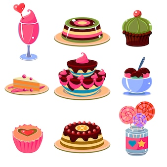 Conjunto de iconos de postre brillante ilustración vectorial
