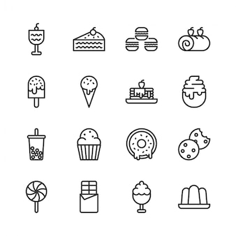 Conjunto de iconos de postre