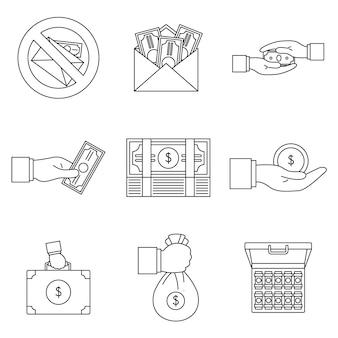 Conjunto de iconos de prácticas corruptas de soborno