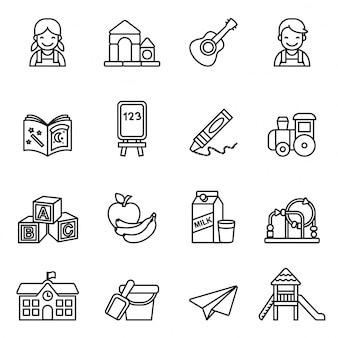 Conjunto de iconos preescolares.