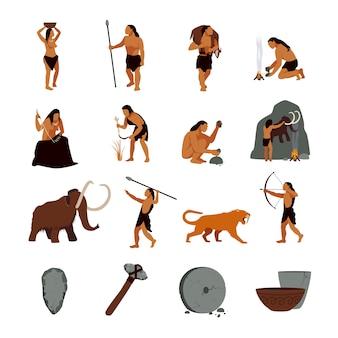Conjunto de iconos prehistóricos de la edad de piedra