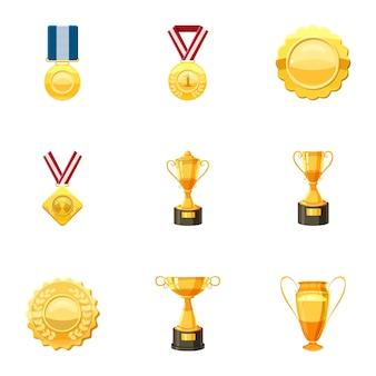 Conjunto de iconos de premios, estilo de dibujos animados