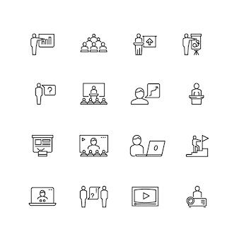 Conjunto de iconos de presentación y conferencia