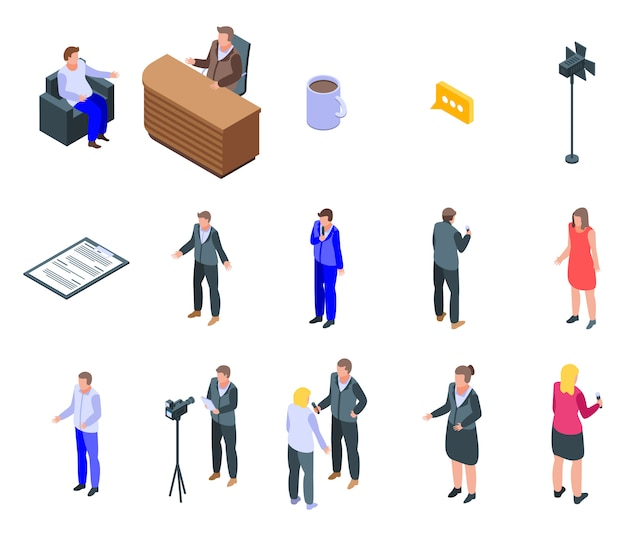 Conjunto de iconos de presentador de tv