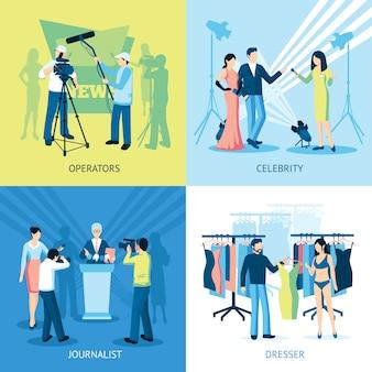 Conjunto de iconos de pressman y periodista concepto
