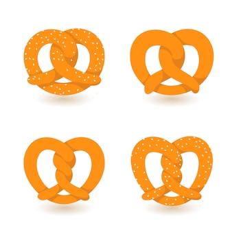 Conjunto de iconos de pretzel