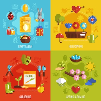 Conjunto de iconos de primavera pascua 2x2