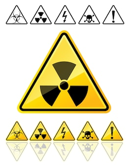 Conjunto de iconos de los principales símbolos de advertencia