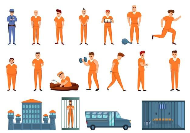 Conjunto de iconos de prisión, estilo de dibujos animados