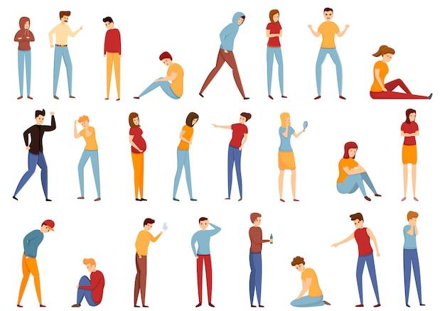 Conjunto de iconos de problemas adolescentes, estilo de dibujos animados