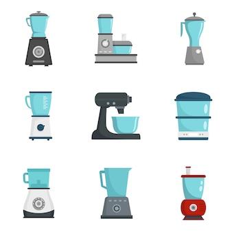 Conjunto de iconos de procesador de alimentos
