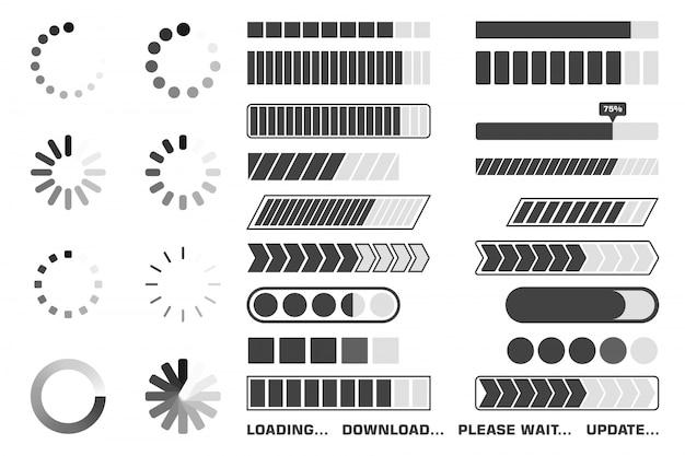 Conjunto de iconos de proceso de carga.