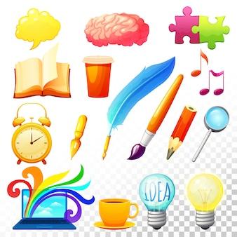 Conjunto de iconos de proceso creativo