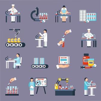 Conjunto de iconos de producción farmacéutica